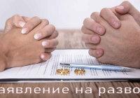 Заявление на развод, образец