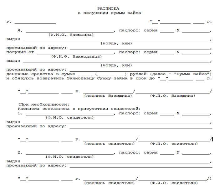 Образец расписки в получении денег за квартиру  Расписка