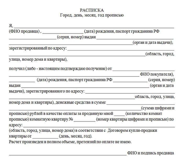 Образец расписки в получении денег за квартиру  текст