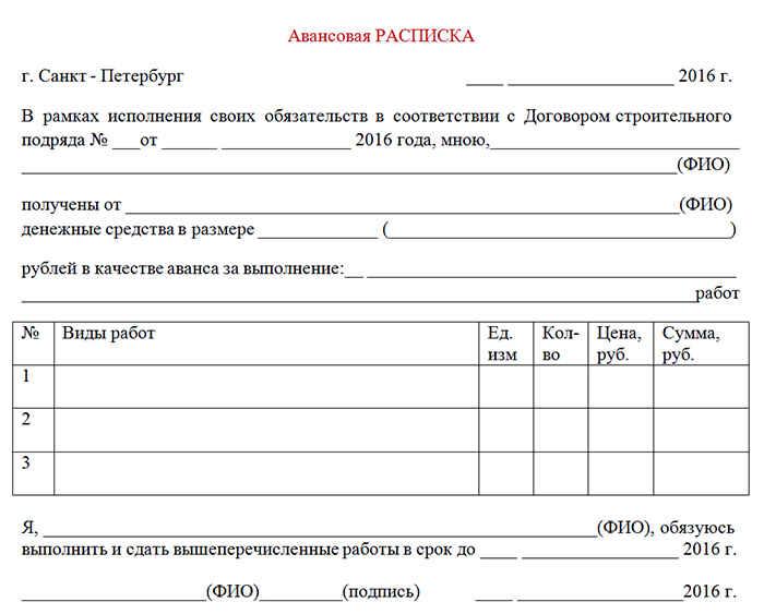 Авансовый документ - расписка